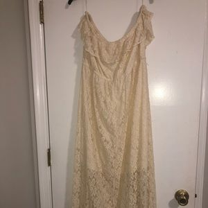 Strapless lace dress off white in color size 2x